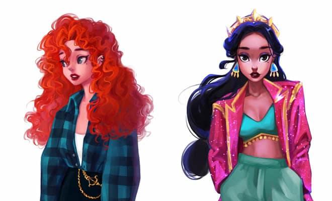 Uma artista cria looks casuais para personagens da Disney 1