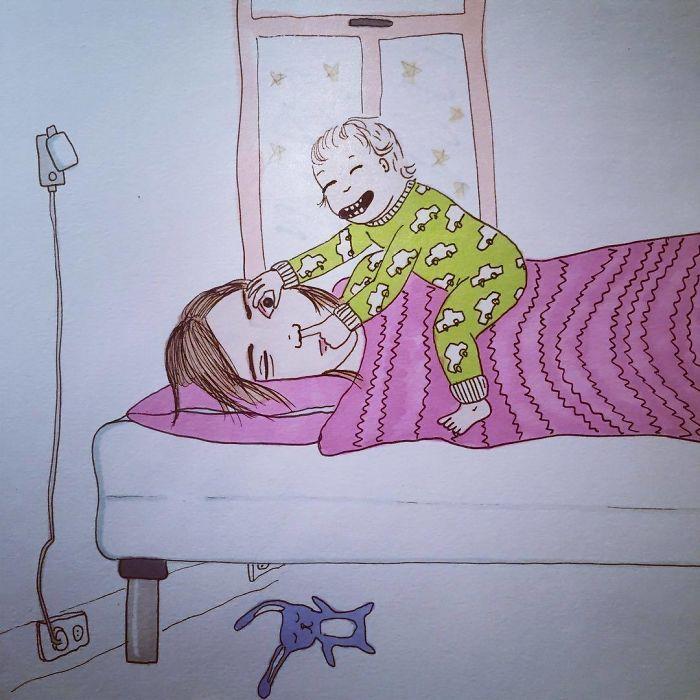 Uma mãe norueguesa mostra sua vida em ilustrações irônicas 9
