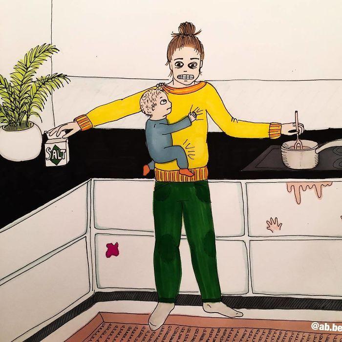 Uma mãe norueguesa mostra sua vida em ilustrações irônicas 11