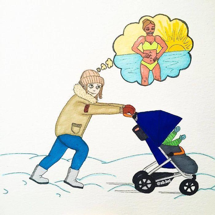 Uma mãe norueguesa mostra sua vida em ilustrações irônicas 12