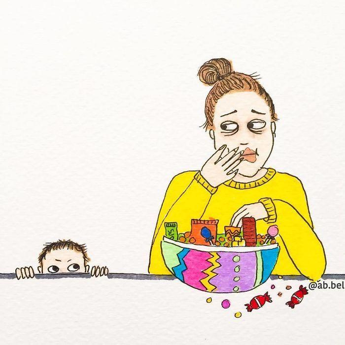 Uma mãe norueguesa mostra sua vida em ilustrações irônicas 20
