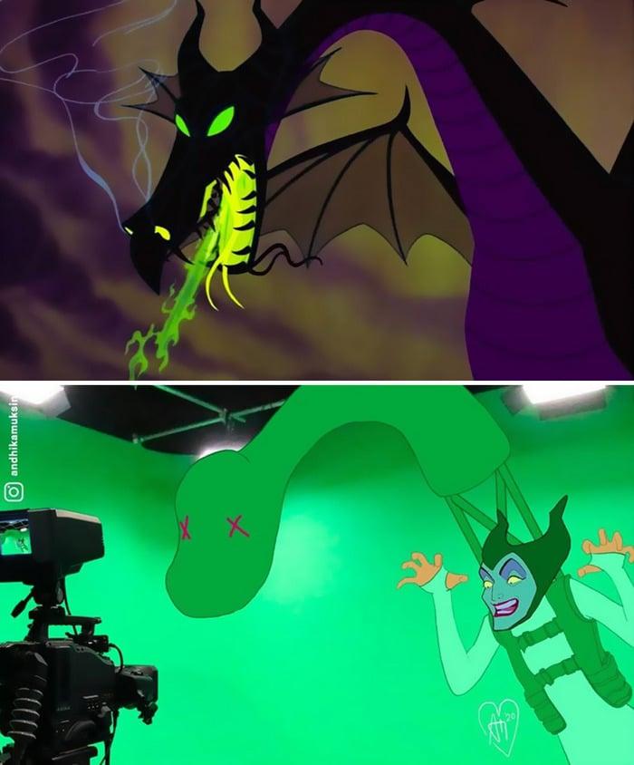 Artista imagina como é nos bastidores dos filmes da Disney 8