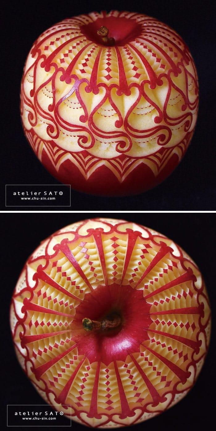 Artista japonês esculpe à mão padrões e ornamentos em comida 6