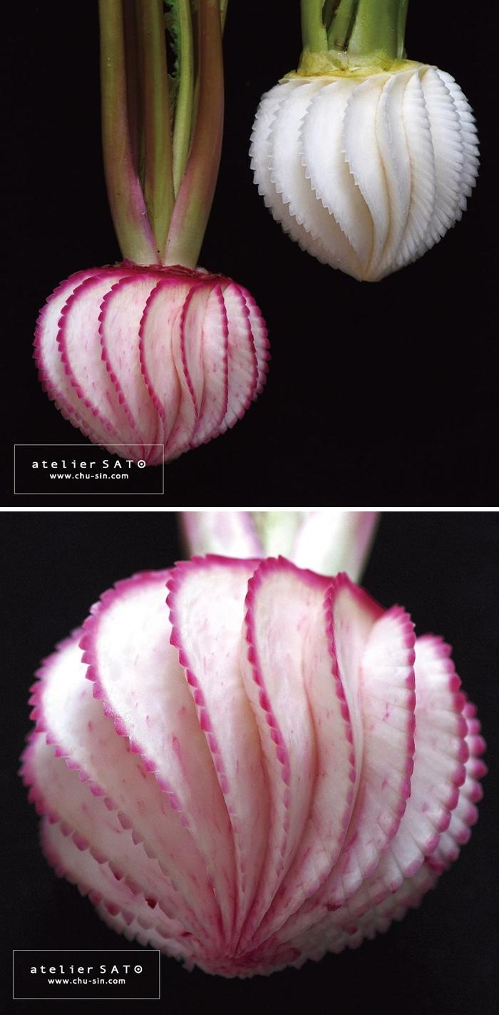 Artista japonês esculpe à mão padrões e ornamentos em comida 9
