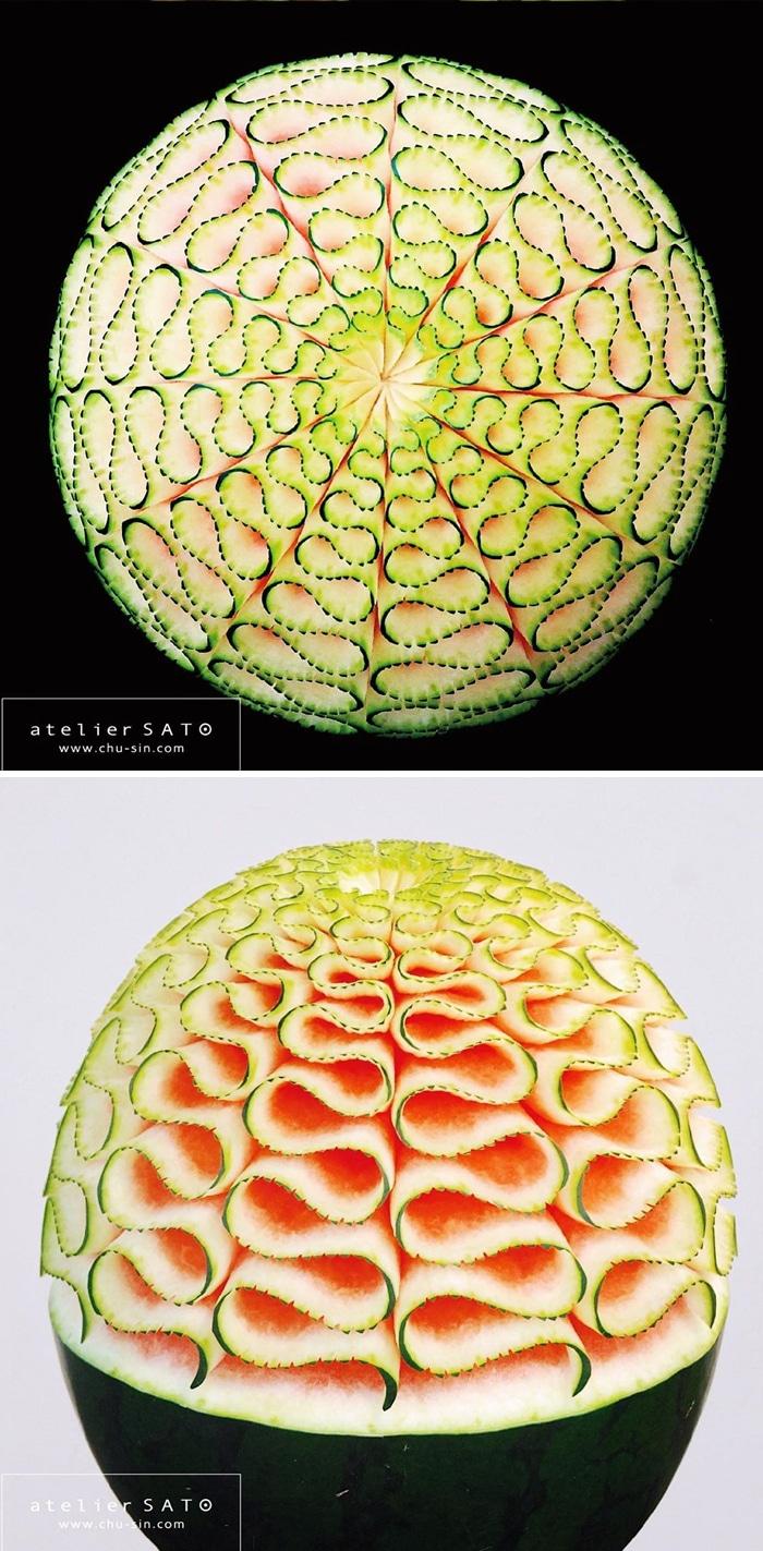 Artista japonês esculpe à mão padrões e ornamentos em comida 10