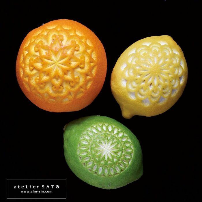 Artista japonês esculpe à mão padrões e ornamentos em comida 22