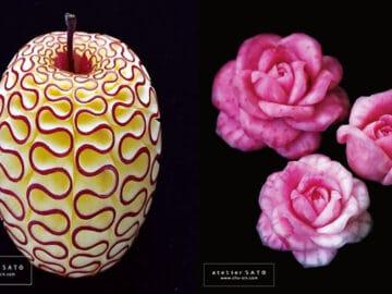Artista japonês esculpe à mão padrões e ornamentos em comida 18
