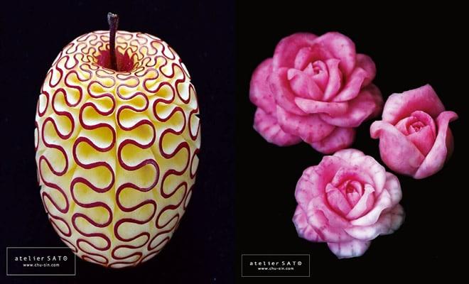 Artista japonês esculpe à mão padrões e ornamentos em comida 1