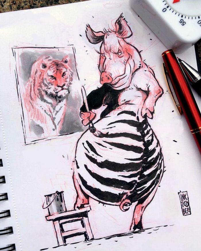 Artista russo cria ilustrações que são divertidas e assustadoras 39
