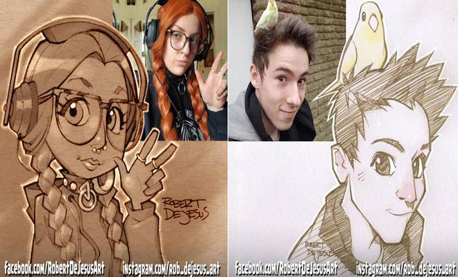 Este artista transforma estranhos em personagens de desenhos animados 23