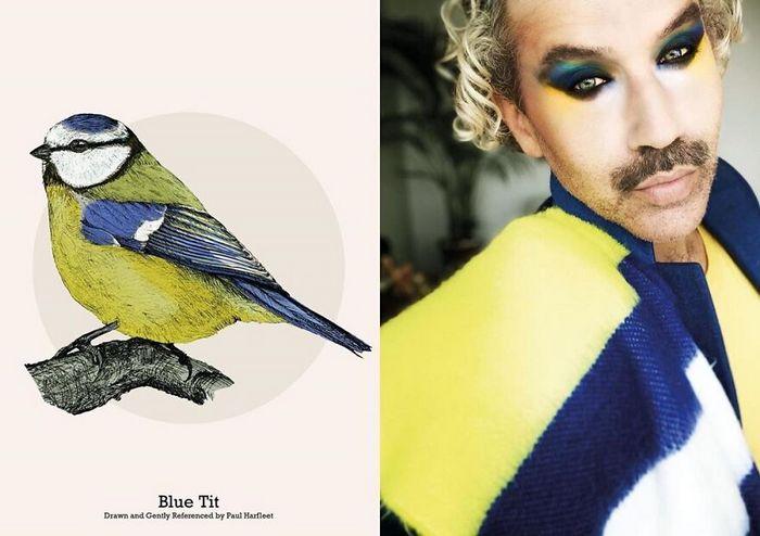 Eu crio estes looks de moda e maquiagem inspirados nos pássaros que desenho 13