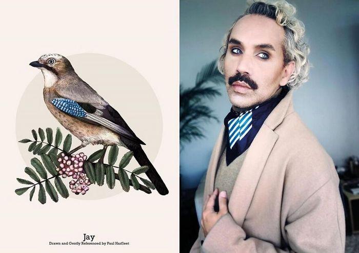 Eu crio estes looks de moda e maquiagem inspirados nos pássaros que desenho 19