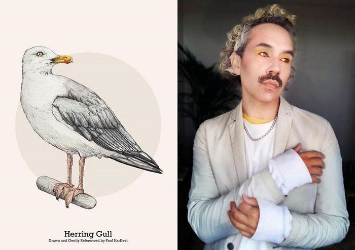 Eu crio estes looks de moda e maquiagem inspirados nos pássaros que desenho 23
