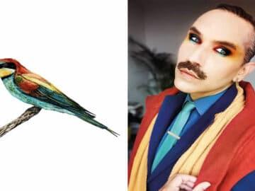 Eu crio estes looks de moda e maquiagem inspirados nos pássaros que desenho 33