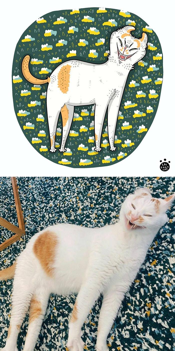38 fotos de gatos mais engraçadas e famosas da Internet são ilustradas pela Tactooncat 3