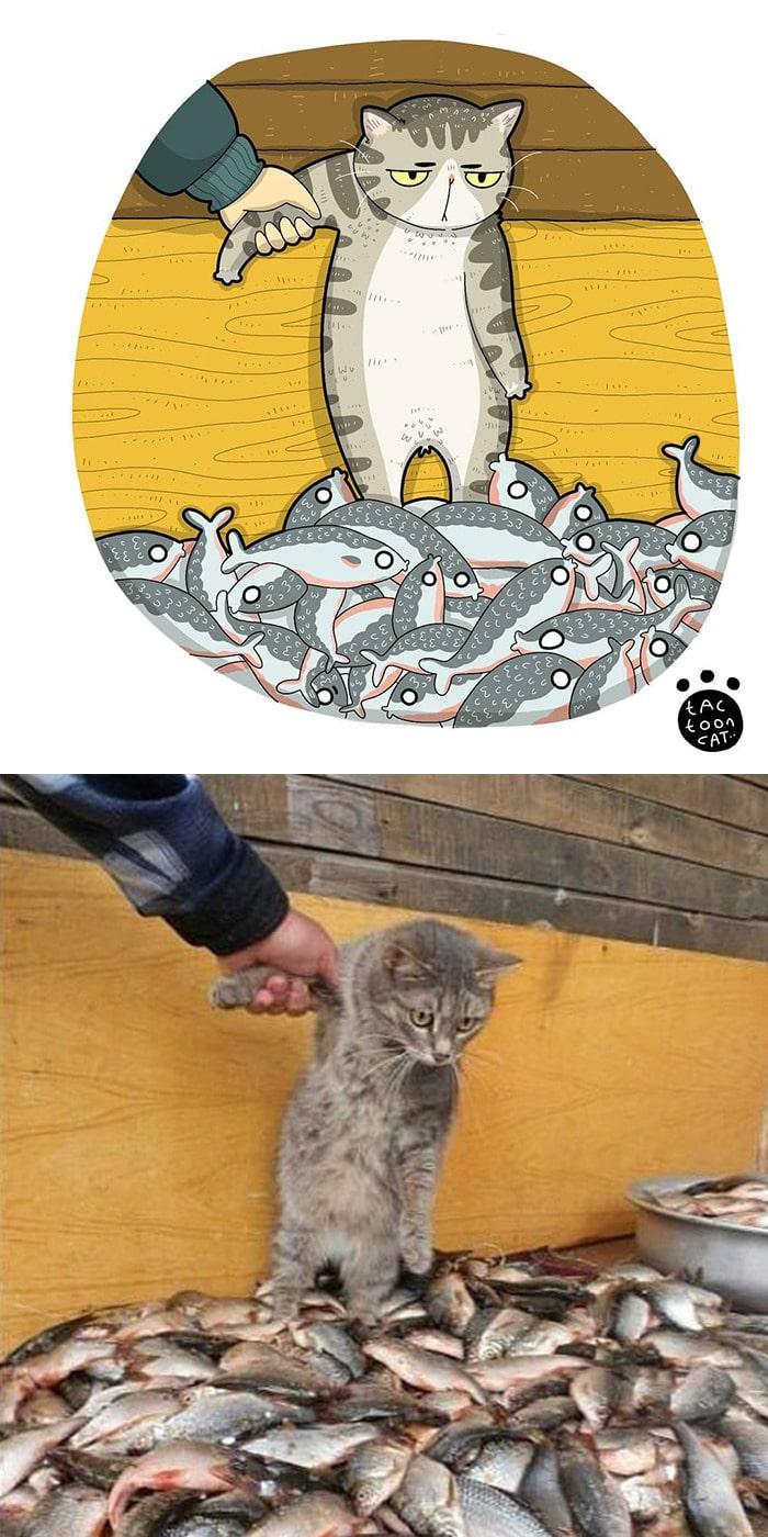 38 fotos de gatos mais engraçadas e famosas da Internet são ilustradas pela Tactooncat 14