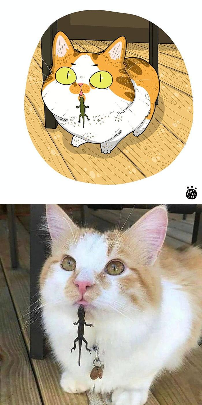 38 fotos de gatos mais engraçadas e famosas da Internet são ilustradas pela Tactooncat 30