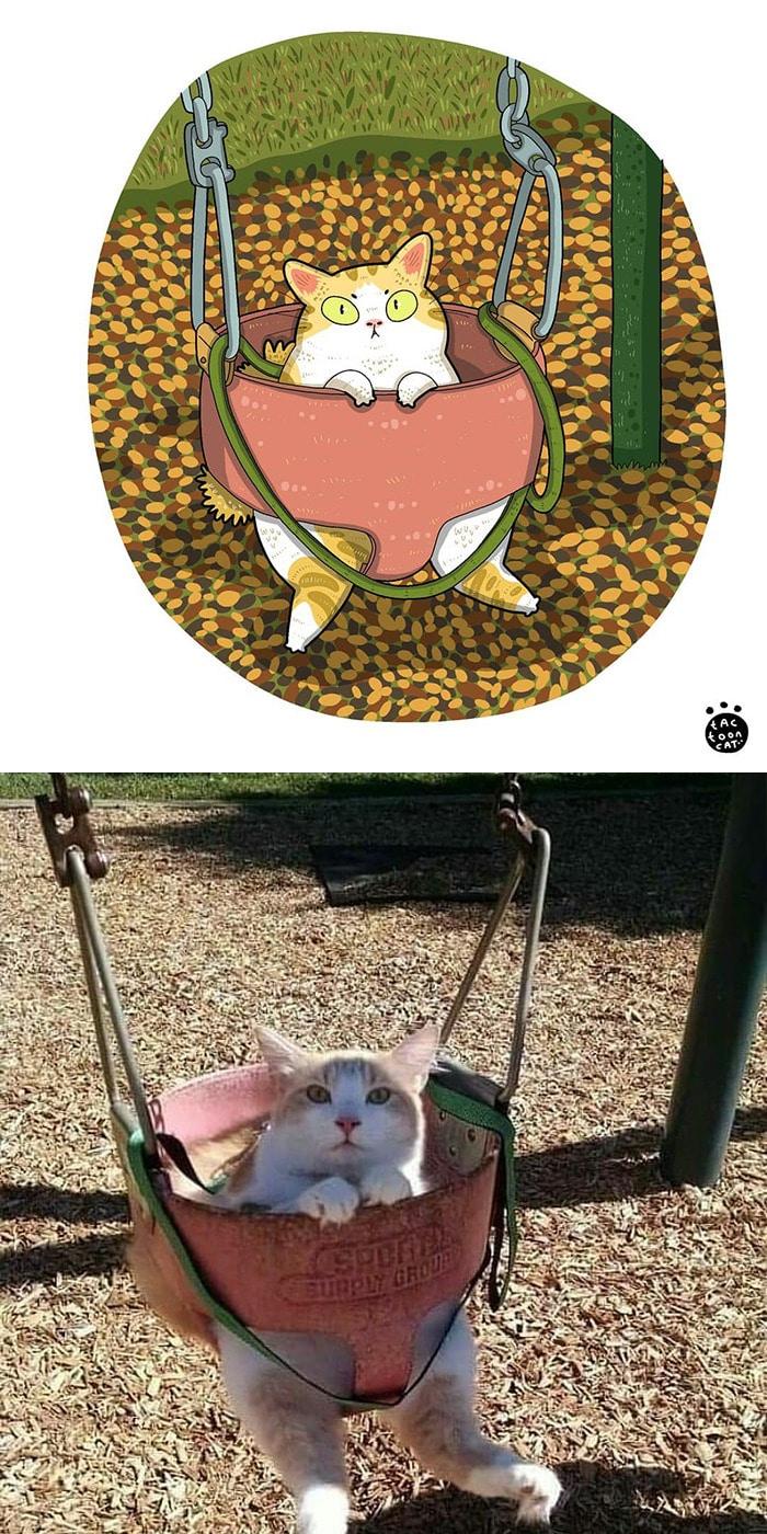 38 fotos de gatos mais engraçadas e famosas da Internet são ilustradas pela Tactooncat 31
