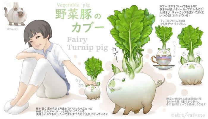 Ilustrador japonês combina animais e vegetais para fazer adoráveis criaturas de contos de fadas 13