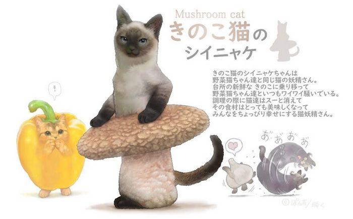 Ilustrador japonês combina animais e vegetais para fazer adoráveis criaturas de contos de fadas 20