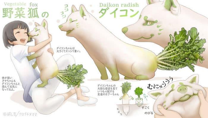 Ilustrador japonês combina animais e vegetais para fazer adoráveis criaturas de contos de fadas 39