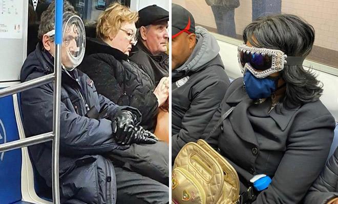 Esta página do Instagram está postando as máscaras do coronavírus mais ridículas vistas no metrô 38