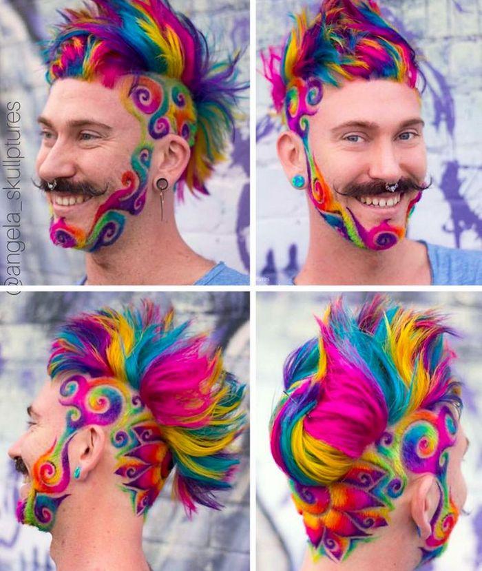 Um cabeleireiro australiano que transforma o cabelo em arco-íris 15