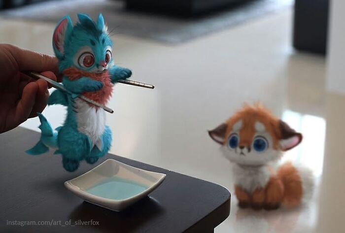 Artista coloca animais peludos digitais em situações da vida real em cenários do dia a dia 7