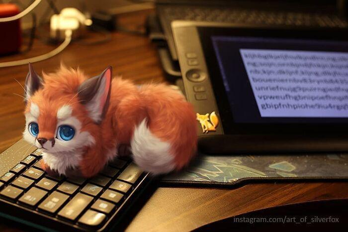 Artista coloca animais peludos digitais em situações da vida real em cenários do dia a dia 11