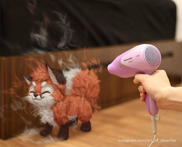Artista coloca animais peludos digitais em situações da vida real em cenários do dia a dia 14