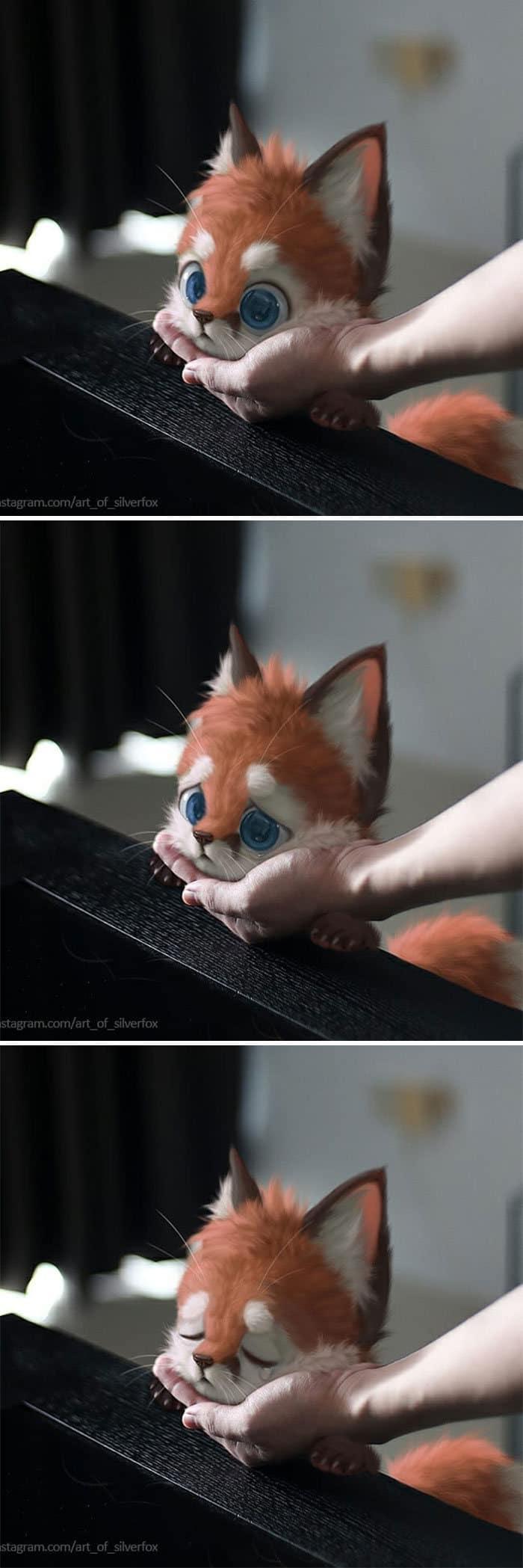 Artista coloca animais peludos digitais em situações da vida real em cenários do dia a dia 30
