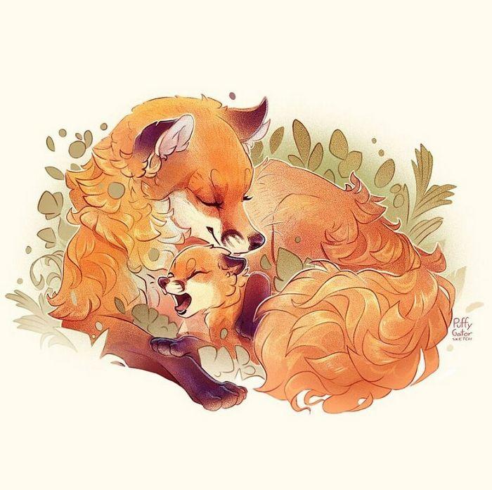 Artista cria ilustrações fofas de animais selvagens e animais de estimação 19