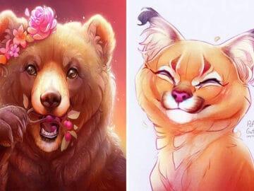 Artista cria ilustrações fofas de animais selvagens e animais de estimação 4