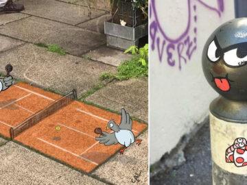 Artista francês espalha humor em espaços urbanos por meio de sua arte 3