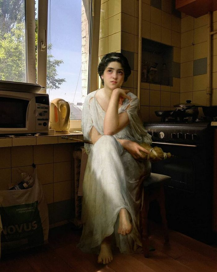 Artista insere personagens de pinturas clássicas no mundo moderno 9