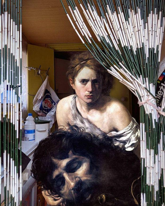 Artista insere personagens de pinturas clássicas no mundo moderno 14
