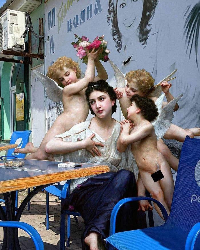 Artista insere personagens de pinturas clássicas no mundo moderno 24