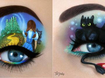 Esta artista cria cenas mágicas em suas pálpebras usando maquiagem 37