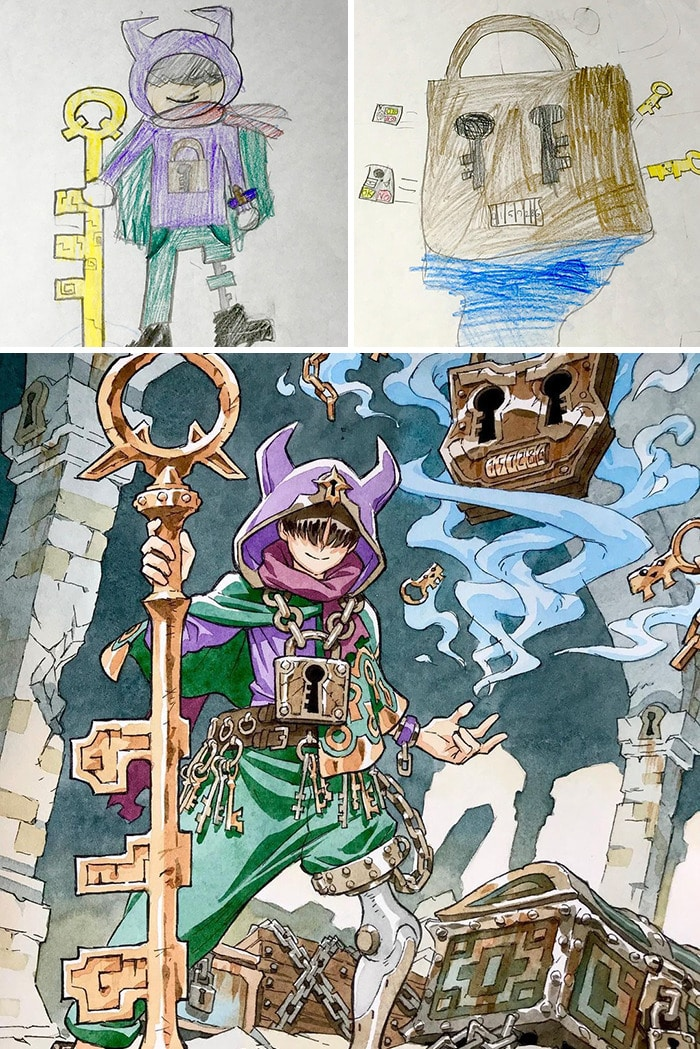Papai transforma os rabiscos de seus filhos em personagens de anime, e o resultado é incrível 3