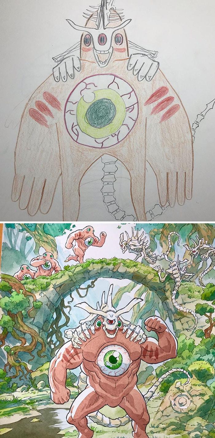 Papai transforma os rabiscos de seus filhos em personagens de anime, e o resultado é incrível 4