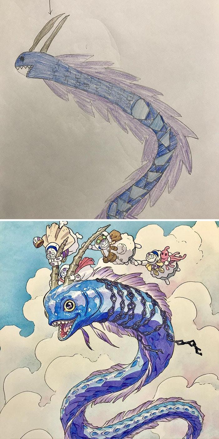 Papai transforma os rabiscos de seus filhos em personagens de anime, e o resultado é incrível 5