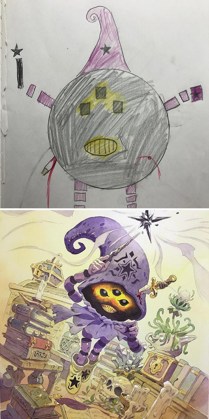 Papai transforma os rabiscos de seus filhos em personagens de anime, e o resultado é incrível 7