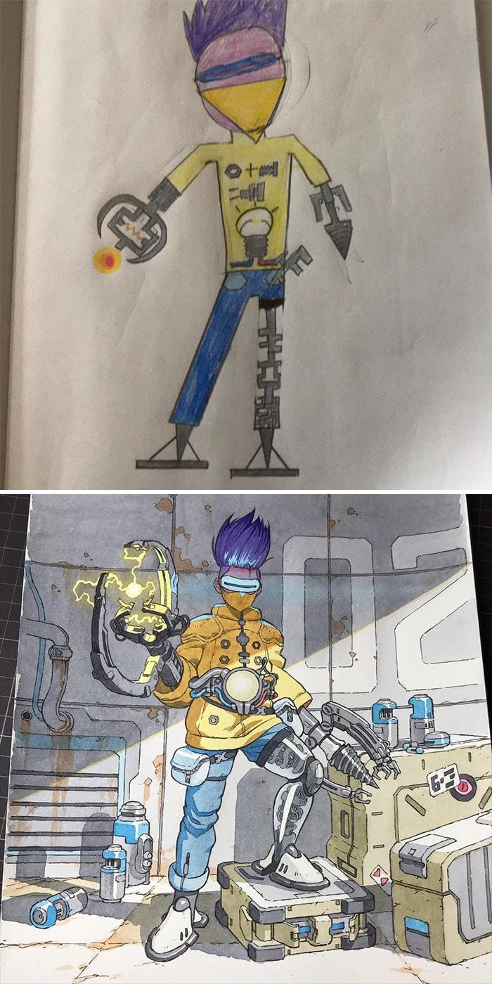 Papai transforma os rabiscos de seus filhos em personagens de anime, e o resultado é incrível 9