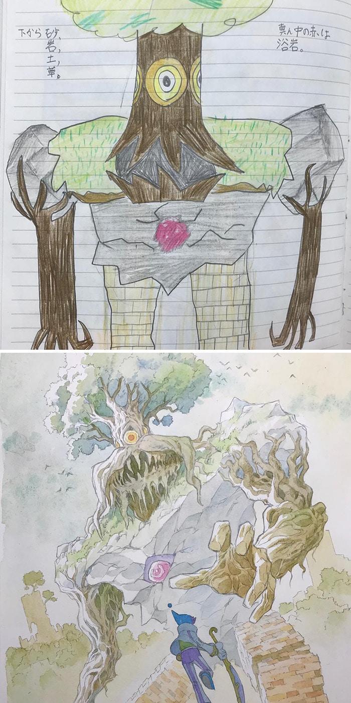 Papai transforma os rabiscos de seus filhos em personagens de anime, e o resultado é incrível 11