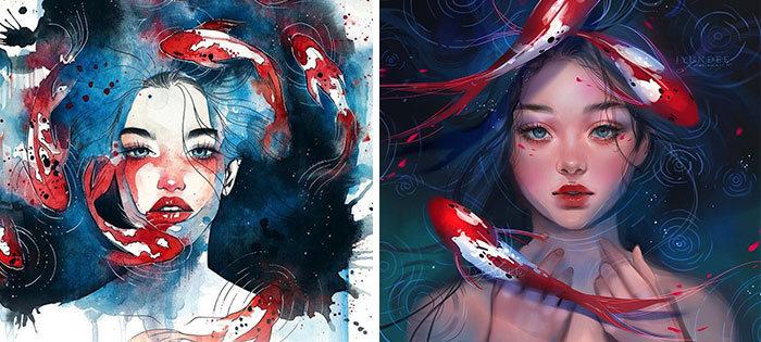 Personagens famosos recriados por uma artista coreana em seu próprio estilo 37