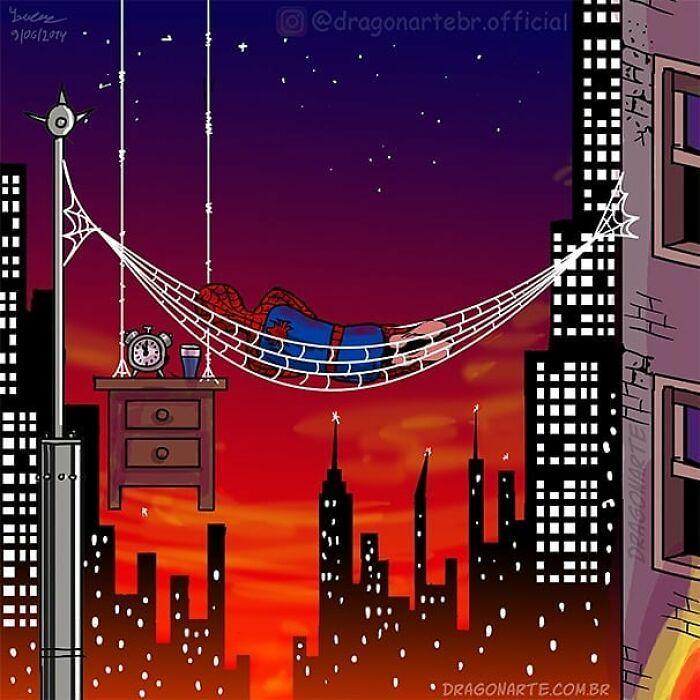 Artista mostra o que os super-heróis e outros personagens famosos fazem quando não estão salvando o mundo 10