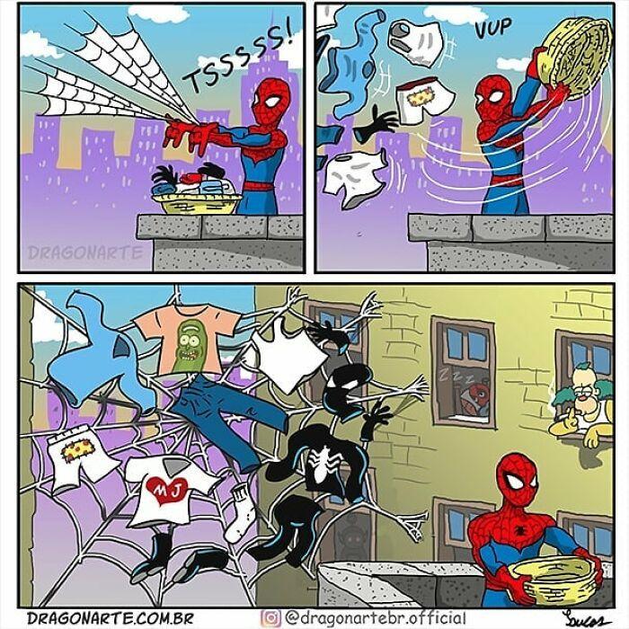 Artista mostra o que os super-heróis e outros personagens famosos fazem quando não estão salvando o mundo 20