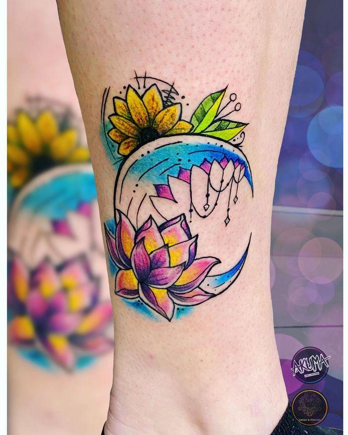 14 ideias de tatuagem de lua em aquarela 3