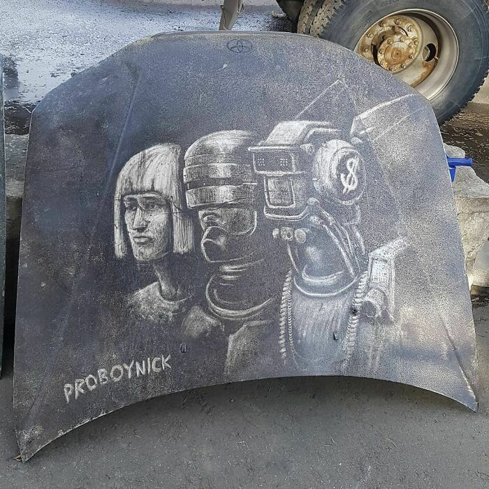 Donos de caminhões sujos encontram desenhos incríveis em seus veículos deixados por este artista 20