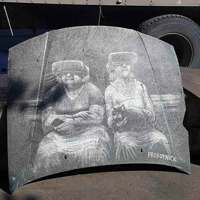 Donos de caminhões sujos encontram desenhos incríveis em seus veículos deixados por este artista 26